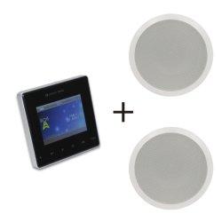 صوت Bluetooth® نظام المسرح المنزلي مضخمات صوت BT مضيف موسيقى الخلفية الصغير مشغل صوت منزلي ذكي للوسائط مع شاشة لمس مع كبلات مكبرات صوت في السقف