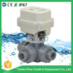 1/2 بوصة ′ 3 اتجاهات، تقوم PVC الكهربائية بإغلاق كرة الماء الصمام مع التجاوز اليدوي
