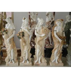 Lado de escultura em mármore natural da vida de Pedra Size Four Seasons Lady estátua para decoração de jardim