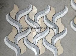 Thassos weiße Mischung gelb/Schwarzes/graue Marmorwasserstrahlmosaik-Fliese für Hauptdekorationen