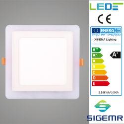 Plaza embebido empotrables de color doble 6W 9W 16W 24W luz panel LED