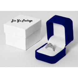 La Plaza de terciopelo azul anillo de diamantes joyería personalizada Regalo cajas de embalaje