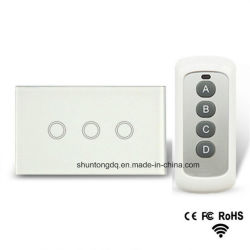 Nous moyen standard de 3 Piste 1 Interrupteur des feux de commande à distance, RF433 Interrupteur des feux de tactile à distance, mur de lumière de l'interrupteur d'écran tactile
