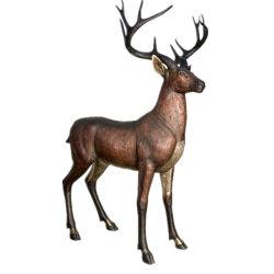 Escultura de bronce el cobre estatua animales ciervos para decoración de jardín