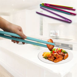 Tenaglie lunghe del BBQ dell'alimento del silicone della clip del BBQ del pane di cottura del ghiaccio del morsetto della bistecca
