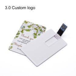 De Creditcard USB 3.0 64GB 32GB 16GB 8GB Embleem Pendrive van de bank Van de Douane van de Aandrijving van de Kaart USB van de Micro- Flits 128GB van de Kaart USB het Super Dunne