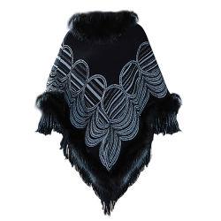 Collar de piel Zorro Woman-Made Cashmere manto mantón Lady chaqueta tejida