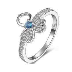 L'argento sterlina S925 squilla gli anelli eleganti della CZ degli anelli fortunati del trifoglio il micro dell'argento che pavimenta gli anelli
