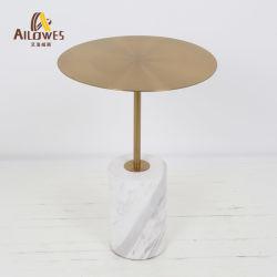 Металлические столовая мебель мраморным основание из нержавеющей стали стороны кофейный столик