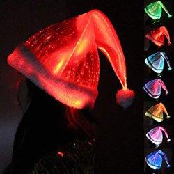 RGBはクリスマスの帽子の光ファイバ明るいクリスマスの帽子をつける