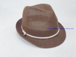 ロープのトリムの男女兼用の帽子が付いているニットの薄いペーパーわらPackable