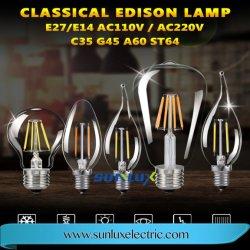 G45 Эдисон E14 E27 светодиодные лампы накаливания в форме свечи стекла с регулируемой яркостью
