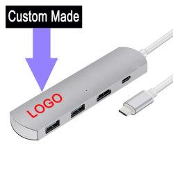 Aluminio hecho personalizado tipo C C USB USB hub de LAN de tipo C y 2 puertos USB 3.0 tipo de HDMI-C en apoyo de la carga y transmisión de datos