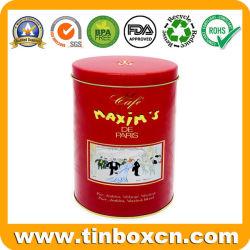 Repujado de estaño metálico Oval Café Chocolate Caja con alimentos seguros