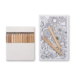 10장의 카드와 12가지 색상의 연필로 성인 세트를 그리세요