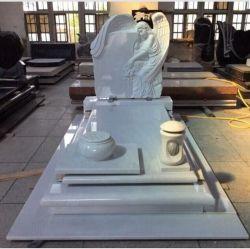 백색 대리석 돌 광범위하는 천사에 의하여 새겨지는 벤치 묘석