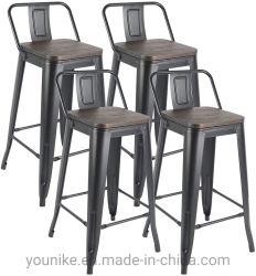 """30"""" interior e exterior Banqueta Tolix Vintage Meta cadeira com costas do assento de madeira"""