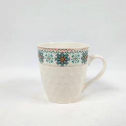 Adhesivo en relieve y taza de porcelana y cerámica artesanales para regalo