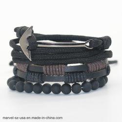 Braccialetti del cuoio del branello di modo & braccialetto di cuoio degli uomini a più strati dei braccialetti