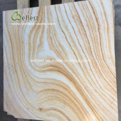 Jaune de haute qualité des blocs de grès en bois de la dalle pour Villa Prix Wall Tile