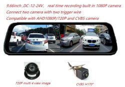 9,66inch Stream Media Car Crash Kamera Rückspiegel Monitor Recorder DVR