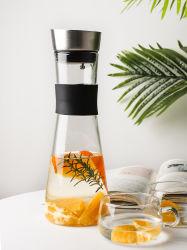 Vidro Conjunto potável Pither de vidro com gargalo de silicone para Água Fria