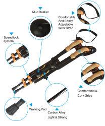 Новый стиль наилучшего качества 100% из углеродного волокна для походов полюсов в поход палки полюсов в нескольких минутах ходьбы палки