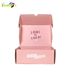 Cartão personalizado do Papelão Ondulado Caixa de papel reciclado Dom coloridas casas pano de envio Rosa Caixas Mailer