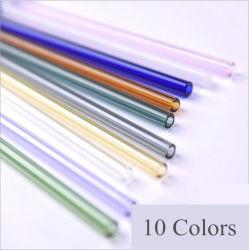 het Drinken van het Glas Borosilicate van Straight&Bent van de Gezondheid van 18cm Kleurrijk Nippend Stro