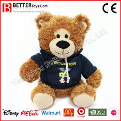 주문 로고 Hoodie 옷에 있는 선전용 선물 견면 벨벳 박제 동물 연약한 장난감 장난감 곰