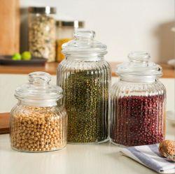Высокое количество очистить стекло в рубчик Jar для хранения продуктов питания