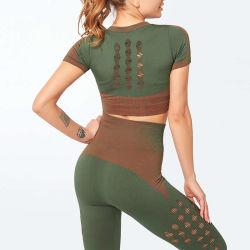 En otoño de la mujer de manga larga y delgada de empalme geométrica Yoga Wicking traje de vestir juegos con cartas