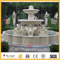Giallo/bianco naturale/nero/fontana di acqua grigia del marmo della pietra del giardino di /Red con la scultura animale