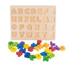 26 حرف طبيعيّة خشبيّة أبجديّة لغز طفلة لعب تربويّ