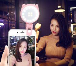 إضاءة مرآة ماكياج فلاش، ميني USB تصوير فيديو مباشر محمول ضوء صورة ذاتية LED لـ Cat الخفيف الذي يعمل على حلقة فلاش ذاتية الصورة للهاتف الذكي على شكل