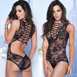 Les femmes de la Dentelle Lingerie sexy robes See-Through Chemise de nuit robe lingerie monobloc