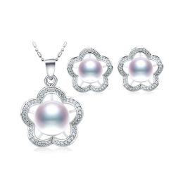 Silberne Schmucksache-gesetzte echte Perle der Blumen-Form-925