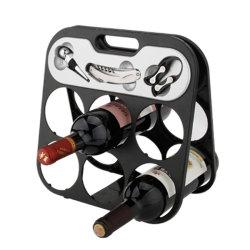 Estante de vino botella seis Color negro (608355-B).