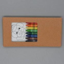 Jeu de papeterie tirage promotionnel Crayon définie avec 8PCS Non-Toxic les crayons de cire et 8PCS Carte de dessin dans la case pour l'école&Cadeaux