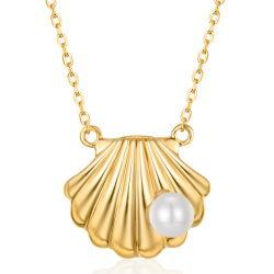 Shell Halsband van Juwelen 585 van de Halsband van de Parel van de Vorm de Zoetwater In het groot Zuivere Gouden