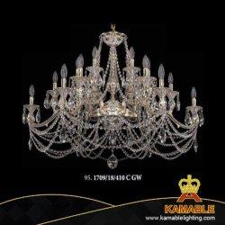 Indicatore luminoso d'ottone chiaro Pendant decorativo del cristallo del lampadario a bracci di progetto europeo dell'hotel