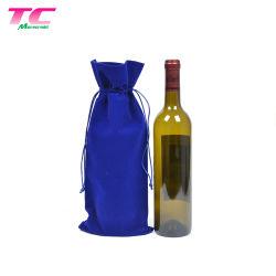 Comercio al por mayor bolsas de regalo de la cerveza Champagne vino de fábrica, el azul de impresión personalizada de terciopelo reutilizable Embalaje bolsa de polvo vino drawstring de fiesta