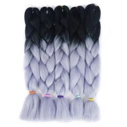 """24の"""" 100g長いKanekalon Ombreの灰色の総合的なジャンボ組みひもの毛"""