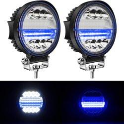 4.5인치 LED 원형 라이트 바 72W 화이트 스팟 조명 포드 블루 엔젤 장착 오프로드 포그 드라이빙 루프 바 범퍼 아이 DRL 마커 램프