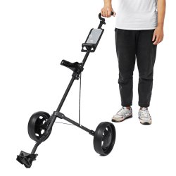 Campo de empurrar o carrinho Dobrável Giratório de 2 rodas Carrinho de puxar o carrinho de golfe com suporte de guarda-chuva carrinho de golfe
