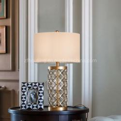 Grelha Metálica Moden LED de luz da mesa candeeiro de mesa em mármore com pano abajur para o apartamento, Villa, Resort Zf-Cl-023