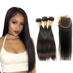 Кость Kbeth прямые волосы двойной обращено волокна волос 10прямой 100g каждый кусочек человеческого волоса продление комплекты с кружевом Швейцарии закрытия