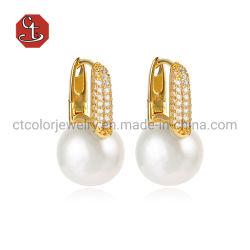 Multa 925 Joyería de Plata y Bronce de agua dulce natural Pearl silver Stud Earrings para la mujer elegante estilo de joyería Bisutería chapado en oro 18K Pearl Earrings