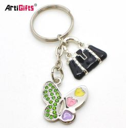 Nueva moda Rhinestone Mariposa Llavero encanto para niñas