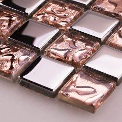 Parede de cozinha Rose Gold Brown Electroplated Espelho Quadrado Golden alumínio cerâmico de vidro em mármore Mosaico Mosaico